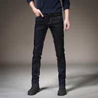 冬季牛仔裤男加厚加绒修身小脚裤子男韩版秋冬款男士牛仔裤 黑蓝