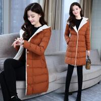 中长款棉衣女冬装新款韩版修身显瘦连帽仿羊羔毛棉袄外套潮