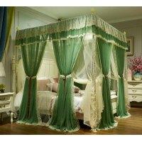 3开门双拼纱蚊帐双人床1.5m1.8m2.0m床上用品蕾丝 绿 【豆绿+米黄】