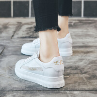 小白鞋女春季单鞋2018新款白鞋内增高女鞋百搭韩版板鞋女平底休闲