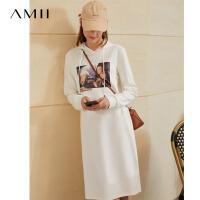 【2折叠券预估价:148元】Amii极简名媛复古连衣裙2020冬季新翻领拼腰带珍珠扣白色卫衣裙女