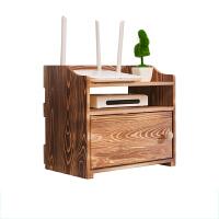 无线路由器收纳盒 实木多功能桌面wifi光猫电视机顶盒置物架客厅