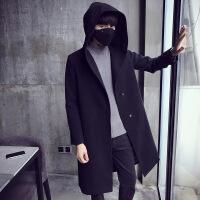 冬季毛呢连帽大衣宽松长款男士毛呢外套风衣