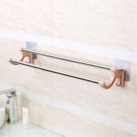 免打孔不锈钢毛巾架卫生间置物架浴室洗澡间用品厕所挂钩收纳架子