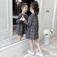 女童春�b格子�B衣裙�和�春秋�L袖�r衫裙童�b裙子