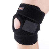 运动护膝男女健身护具 跑步护膝登山护膝篮球双弹簧支撑护具 黑色 均码(一只装)
