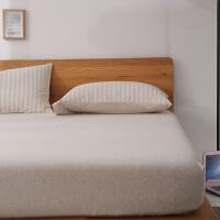 日式无印棉天竺棉床笠单件 良品针织棉床单1.5m1.8米床垫套床罩 米白色 (天竺棉)