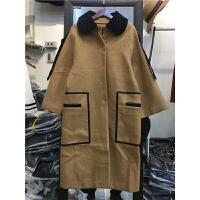 B5秋冬装新韩版宽松大码加厚气质呢子大衣长款过膝毛呢外套女1.35
