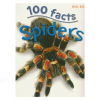 【首页抢券300-100】100 Facts Spiders 100个事实系列 蜘蛛 儿童百科科普常识 百科全书 英文原