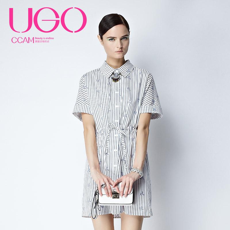 UGOCCAM2017冬装新款女欧美风宽松气质收腰中长款连衣裙