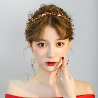 新娘韩式2018新款大气结婚发箍红色套装发饰敬酒服礼服饰品 +