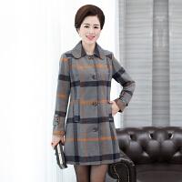 妈妈装秋冬新款呢子大衣中长款加厚风衣中老年女装秋装羊毛呢外套