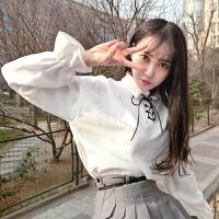 韩观秋装女装韩版新款白色衬衫上衣宽松灯笼袖系带打底衫长袖衬衣学生