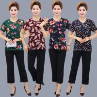 中老年女装夏装短袖大码T恤套装40-50-60岁妈妈装上衣+裤子两件套