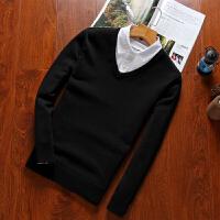 秋装毛衣假两件男士针织衫衬衫领青年毛衫男士毛衣针织衫