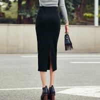 秋冬厚款休闲松紧腰中长半身裙修身显瘦弹力包臀一步裙侧开叉裙子