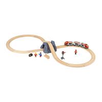 声光地铁车站木制男孩玩具旅行主题火车轨道套装