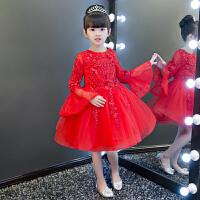 主持晚礼服钢琴演出服长袖 儿童礼服女童公主裙蓬蓬纱红色花童生日