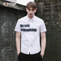 VIISHOW夏季男士短袖衬衫时尚半袖纯色上衣 男装寸衫男青少年衬衣