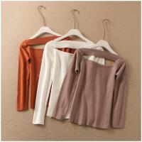 新品纯色套头长袖修身针织衫短款上衣高弹女 51067