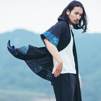2017中国风男装风衣外套中长款复古民族风薄款棉麻披风中式 开衫