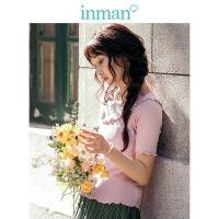 茵曼2018新款韩版粉色甜美修身显瘦荷叶边针织衫女短袖上衣【F1881302554】