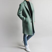 2017秋冬季新款韩版双面羊绒大衣风衣男士中长款毛呢外套呢大衣男 (加棉)