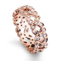 先恩尼钻戒 红18k 玫瑰金 钻石戒指 HF262爱情符号 排钻群镶 指环钻戒 12号