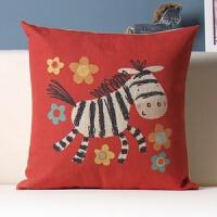 可爱熊猫彩色卡通儿童枕头棉麻抱枕沙发办公室靠垫汽车靠枕抱枕套