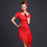 春夏拉丁舞服装女演出服连衣裙拉丁舞流苏裙练习服练功服 红色 短袖《纯流苏》