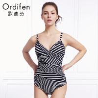 【2件3折到手价:149】欧迪芬夏季商场同款女士带胸垫泳装条纹性感三角式连体游泳衣OS8101