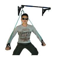 墙体单杠室内引体向上器墙上单杠沙袋架子家用健身器材拉力器 黑色 单杠+2根弹力绳