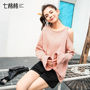 七格格宽松长袖T恤女春夏装2018新款韩版学生打底露肩小心机上衣设计感