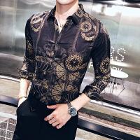流新款男士长袖衬衣复古动植物印花夜店社会小伙衬衫