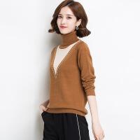冬季新品女式羊毛衫 高领撞色出长袖修身羊毛毛衣打底衫 全羊毛