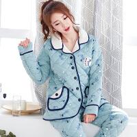 睡衣女冬季纯棉夹棉加厚保暖针织棉袄秋冬天长袖加大码家居服套装