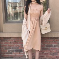 2018春夏季新款吊带连衣裙+中长款防晒衫外套两件套时尚套装女装
