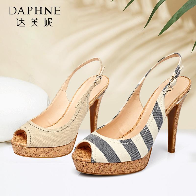 Daphne/达芙妮夏季  超高跟防水台条纹鱼嘴凉鞋1515303033【达芙妮狂欢周】