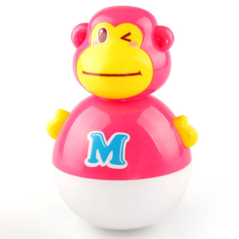婴幼儿玩具 小猴子不倒翁玩具宝宝儿童礼盒装生日礼物 巧克力色