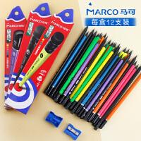 马可黑木铅笔小学生用无毒三角形1-3年级学龄前木头hb带橡皮擦头的写字杆Marco铅笔儿童三角杆纠正写姿黑色芯
