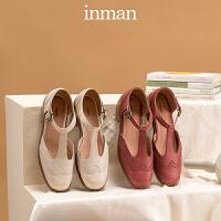茵曼布洛克英伦风小皮鞋女复古玛丽珍鞋一字扣单鞋女中粗跟丁字鞋