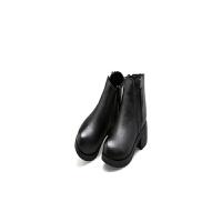 2017秋冬新款英伦风切尔西靴短靴女真皮裸靴粗跟双拉链马丁靴