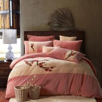 家纺秋冬保暖加厚中式水墨宝宝绒四件套纯色超柔法莱绒天鹅绒床上用品