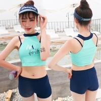 游泳衣女分体比基尼三件套韩国保守平角裤显瘦小香风清新学生泳装