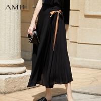 Amii极简心机优雅飘逸百褶半身裙2018夏季新款仙女裙雪纺半身长裙