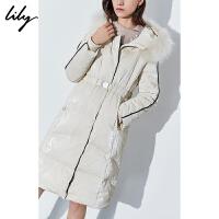 【此商品每满200减50,到手价1249元】 Lily2019冬新款可脱卸毛领白鸭绒金属扣腰带长款修身羽绒服女1976