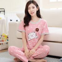 短袖长裤睡衣女夏季韩版清新学生女士全棉运动家居服两件套装 X