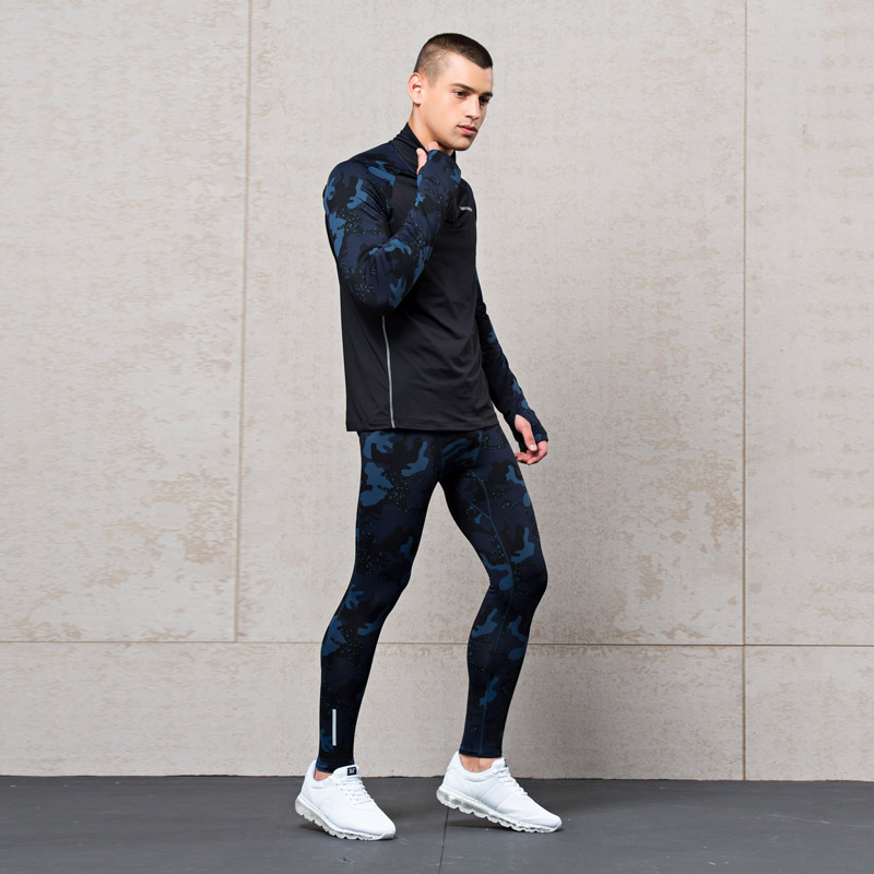361度男装+1°STRETCH套装新款时尚迷彩满印运动套装男