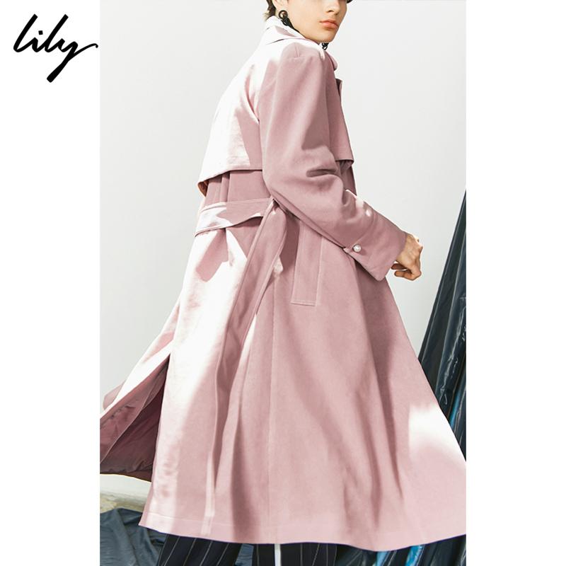 【3件2折 到手价260】Lily春秋时尚粉色肌理条纹珍珠扣中长款风衣女119340C1223 1件3折 3件2折