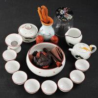 陶瓷白瓷功夫茶杯茶具套装家用玲珑白瓷茶壶盖碗整套配件简约父亲节送父亲送朋友